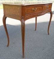 French Inlaid Walnut Side Console Table